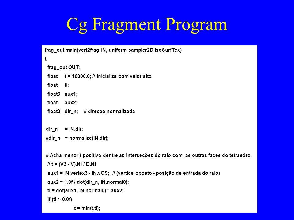 Cg Fragment Program frag_out main(vert2frag IN, uniform sampler2D IsoSurfTex) { frag_out OUT; float t = 10000.0; // inicializa com valor alto float ti; float3 aux1; float aux2; float3 dir_n; // direcao normalizada dir_n = IN.dir; //dir_n = normalize(IN.dir); // Acha menor t positivo dentre as interseções do raio com as outras faces do tetraedro.