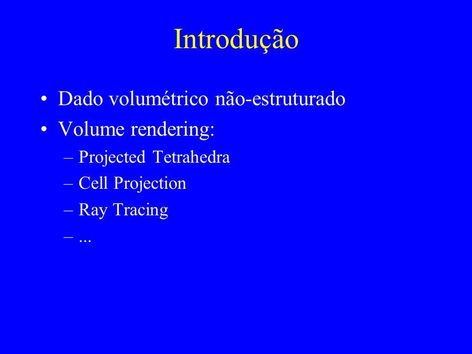 Introdução Dado volumétrico não-estruturado Volume rendering: –Projected Tetrahedra –Cell Projection –Ray Tracing –...