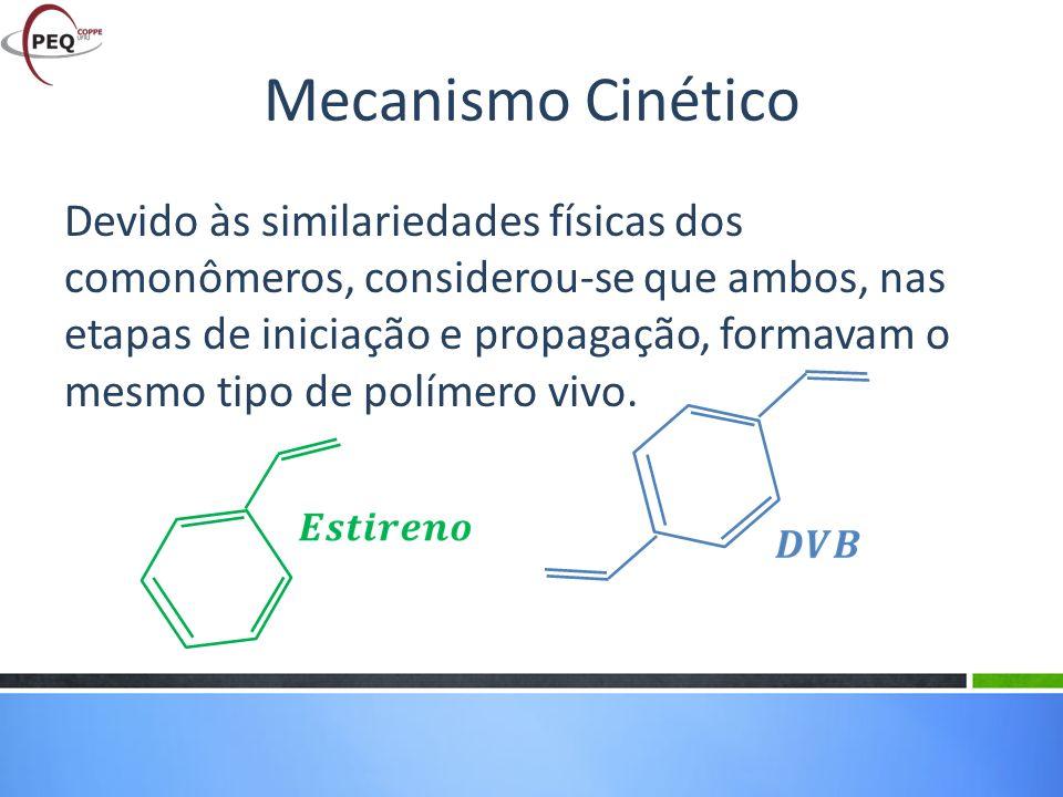Devido às similariedades físicas dos comonômeros, considerou-se que ambos, nas etapas de iniciação e propagação, formavam o mesmo tipo de polímero viv