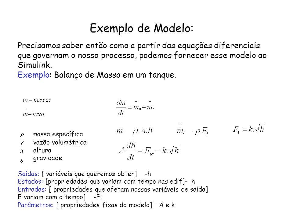 Exemplo de Modelo: Precisamos saber então como a partir das equações diferenciais que governam o nosso processo, podemos fornecer esse modelo ao Simul