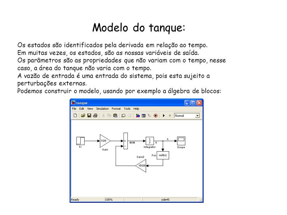 Modelo do tanque: Os estados são identificados pela derivada em relação ao tempo. Em muitas vezes, os estados, são as nossas variáveis de saída. Os pa