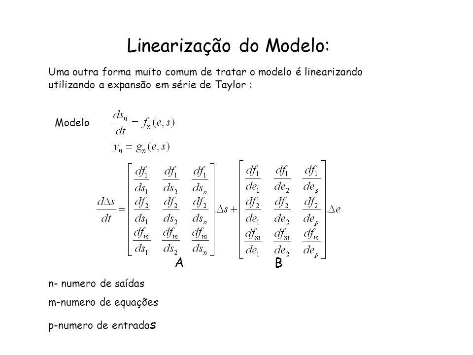 Linearização do Modelo: Uma outra forma muito comum de tratar o modelo é linearizando utilizando a expansão em série de Taylor : Modelo A B n- numero