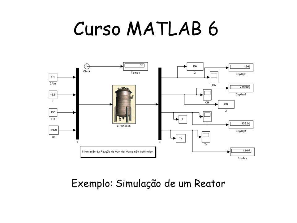 S-functions: Equações para modelar um CSTR: dCa = (Fi*(cai-Ca)/V) - k*Ca; dV = Fi-F; dT = (Fi*Cp*ro*(Ti-T) + DeltaH*k*Ca*V - U*A*(T-Tc)) /(V*ro*Cp); Passando as equações para o formato Matlab: