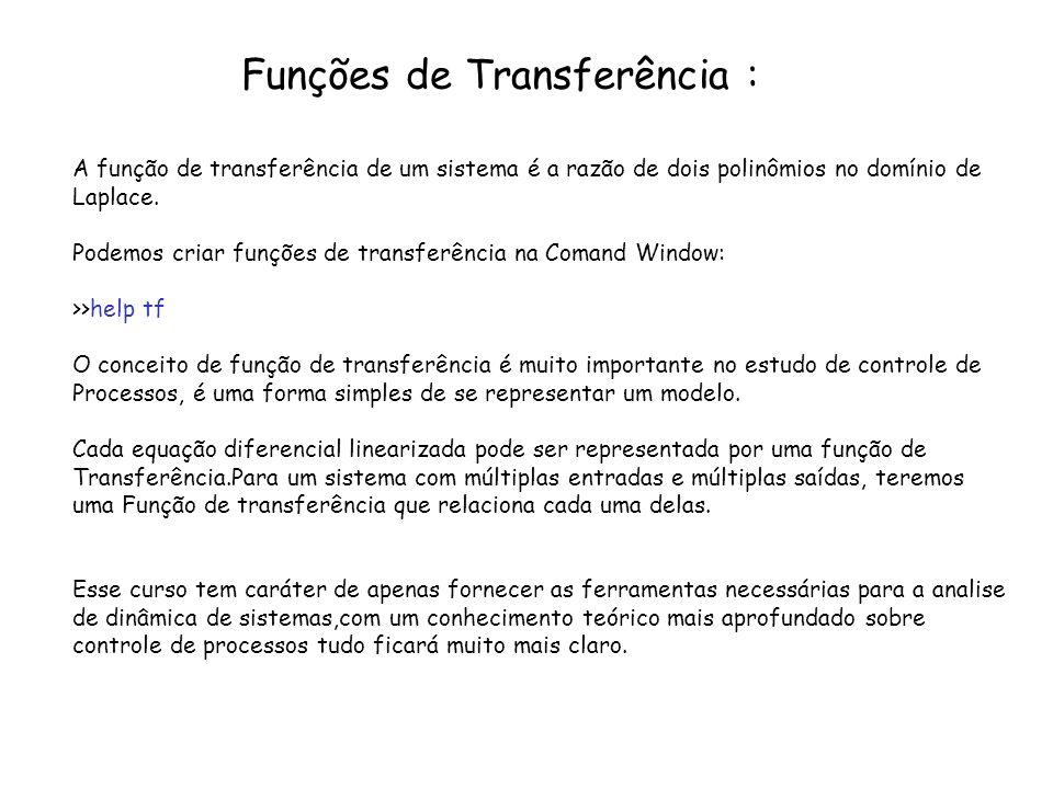 Funções de Transferência : A função de transferência de um sistema é a razão de dois polinômios no domínio de Laplace. Podemos criar funções de transf