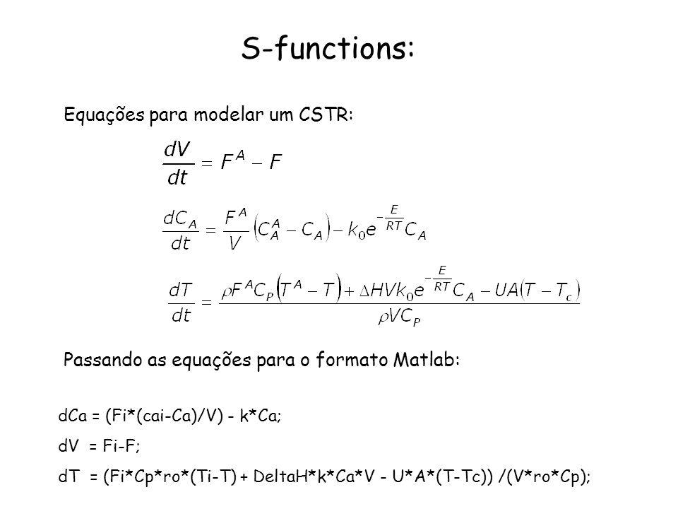 S-functions: Equações para modelar um CSTR: dCa = (Fi*(cai-Ca)/V) - k*Ca; dV = Fi-F; dT = (Fi*Cp*ro*(Ti-T) + DeltaH*k*Ca*V - U*A*(T-Tc)) /(V*ro*Cp); P