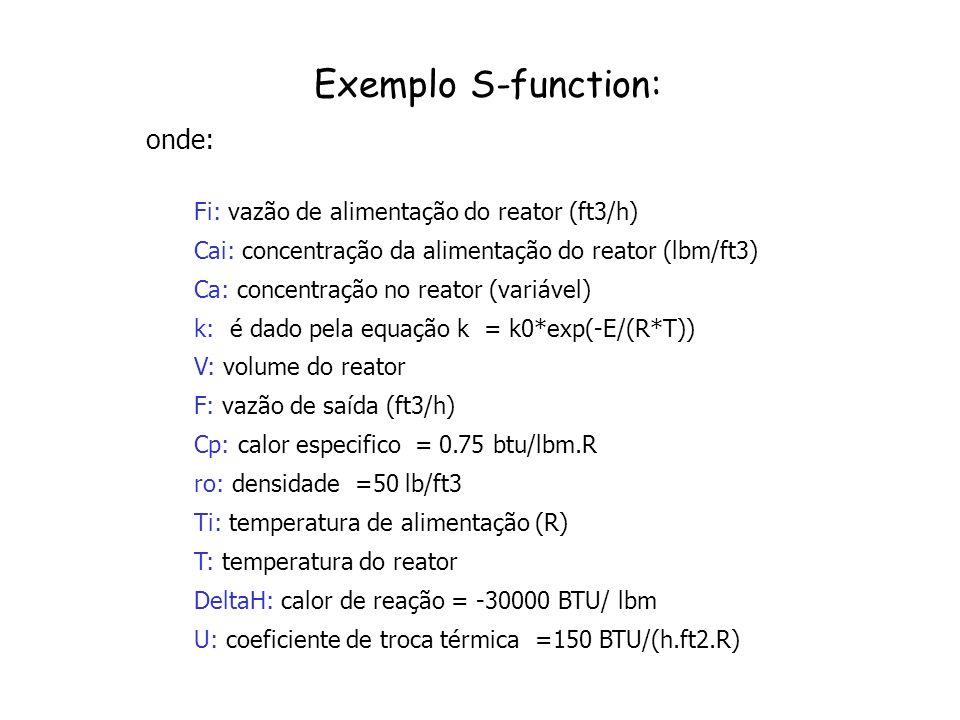 Exemplo S-function: onde: Fi: vazão de alimentação do reator (ft3/h) Cai: concentração da alimentação do reator (lbm/ft3) Ca: concentração no reator (