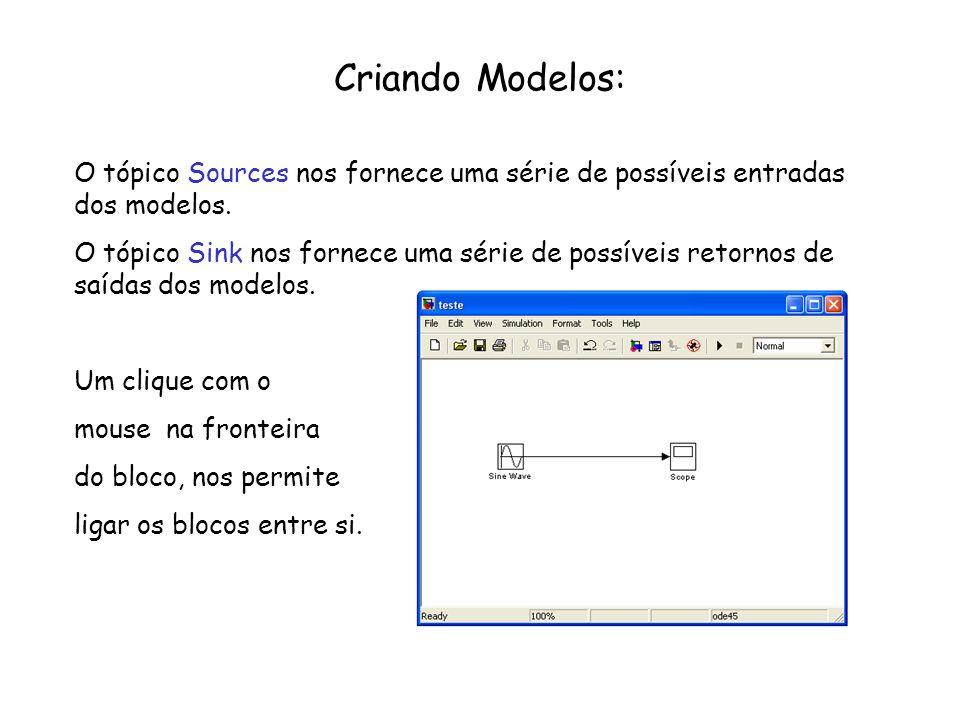 Criando Modelos: O tópico Sources nos fornece uma série de possíveis entradas dos modelos. O tópico Sink nos fornece uma série de possíveis retornos d