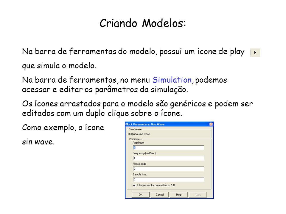Criando Modelos: Na barra de ferramentas do modelo, possui um ícone de play que simula o modelo. Na barra de ferramentas, no menu Simulation, podemos