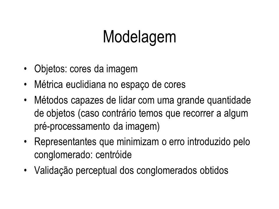 Modelagem Objetos: cores da imagem Métrica euclidiana no espaço de cores Métodos capazes de lidar com uma grande quantidade de objetos (caso contrário