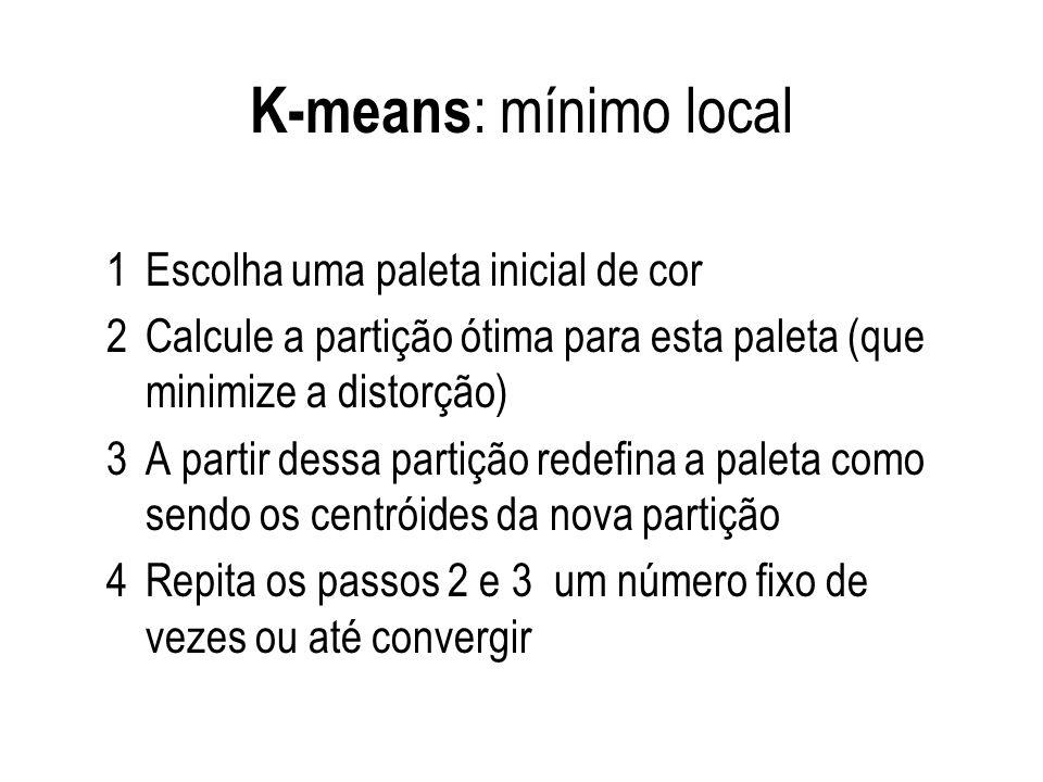 K-means : mínimo local 1Escolha uma paleta inicial de cor 2Calcule a partição ótima para esta paleta (que minimize a distorção) 3A partir dessa partiç
