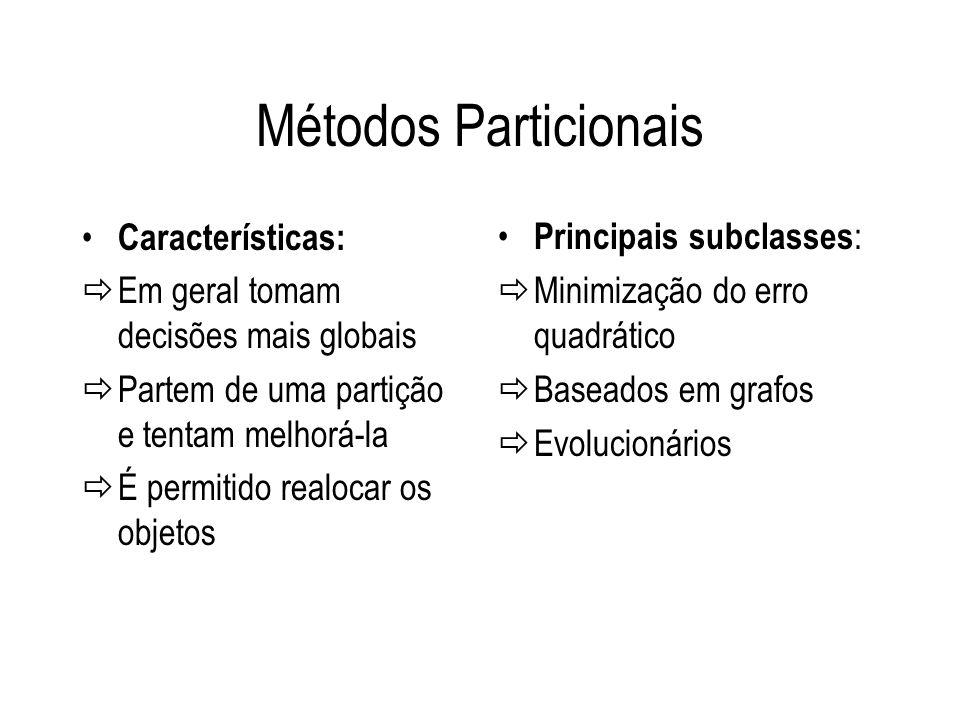 Métodos Particionais Características: Em geral tomam decisões mais globais Partem de uma partição e tentam melhorá-la É permitido realocar os objetos