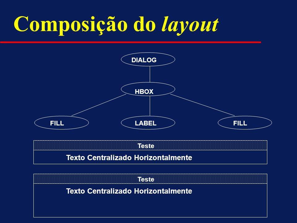 DIALOG HBOX FILL LABEL Teste Texto Centralizado Horizontalmente Teste Texto Centralizado Horizontalmente Composição do layout