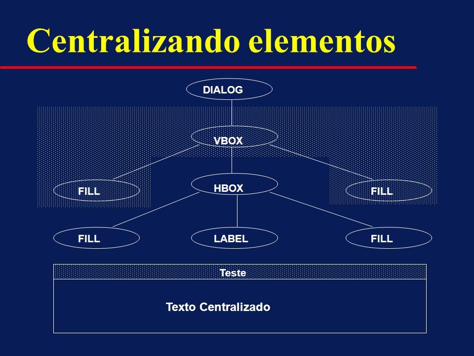 DIALOG HBOX FILL LABEL VBOX FILL Teste Texto Centralizado Centralizando elementos