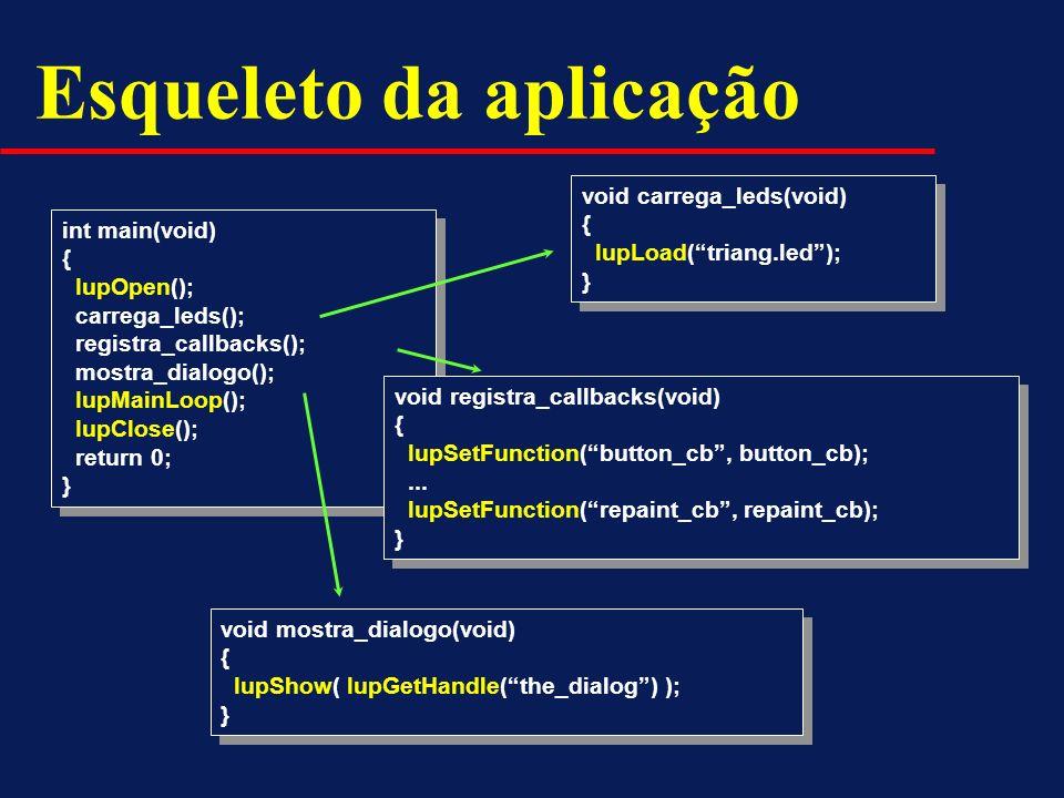 Esqueleto da aplicação int main(void) { IupOpen(); carrega_leds(); registra_callbacks(); mostra_dialogo(); IupMainLoop(); IupClose(); return 0; } int