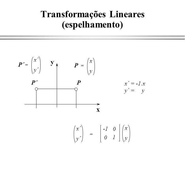 Transformações Lineares (rotação) x y x´ = x.cos - y.sen y´ = x.sen + y.cos cos x´ y´ = x y P = x´ y´ P´ = x y sen cos -sen