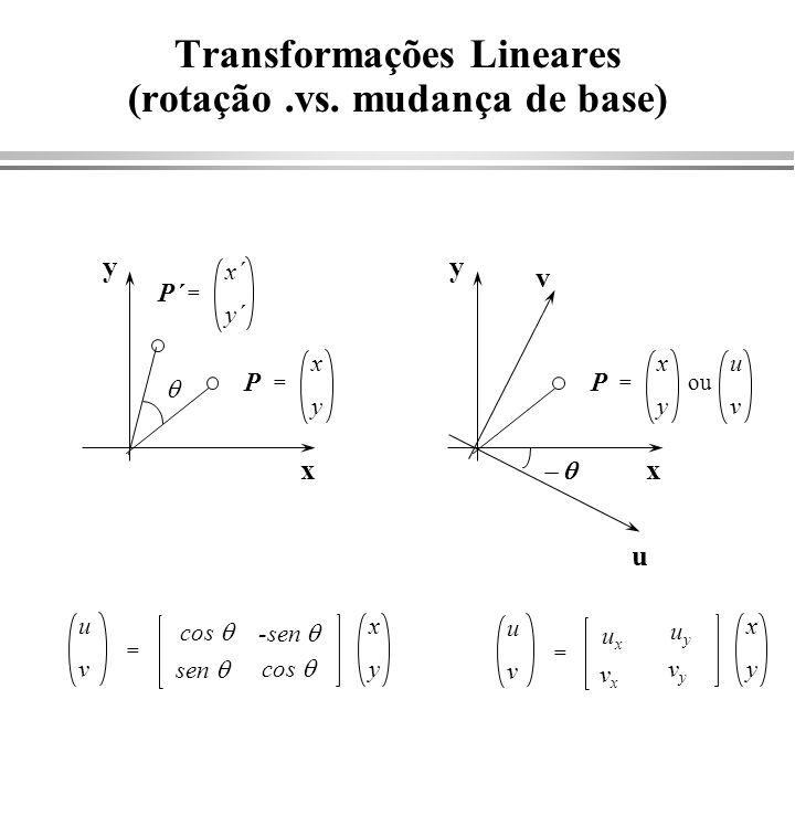 Transformações em 3D (Rotações) x y z x y z 1 0 cos x sen x 0 0 cos x 0 0 0 0 1 y z 1 x = 1 0 0 0 -sen x x x y z 1 0 cos y sen y 0 0 cos y 0 0 0 0 1 y z 1 x = 1 0 0 0 -sen y y x y z 1 0 cos z sen x 0 0 cos x 0 0 0 0 1 y z 1 x = 1 0 0 0 -sen x z