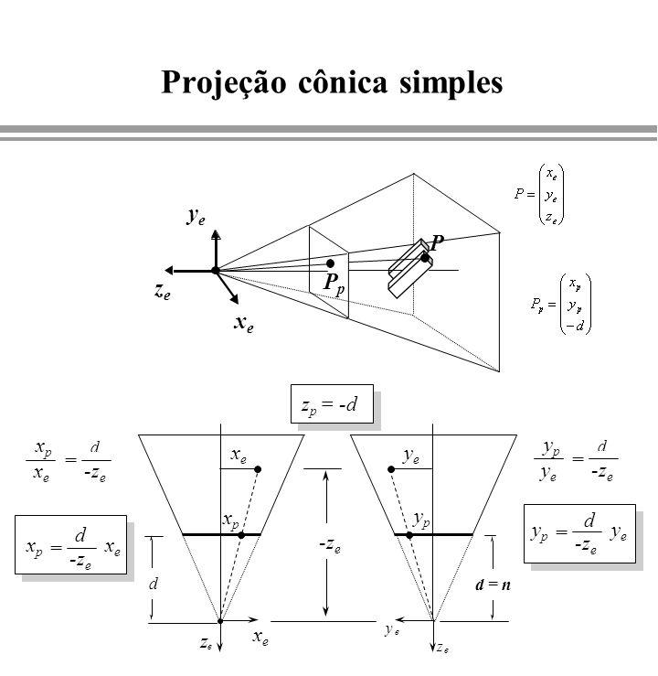 Projeção cônica simples xexe yeye zeze P PpPp xexe z e d = n y e z e xexe xpxp yeye ypyp -z e xexe xpxp d = xexe xpxp = yeye ypyp d = d yeye ypyp = z