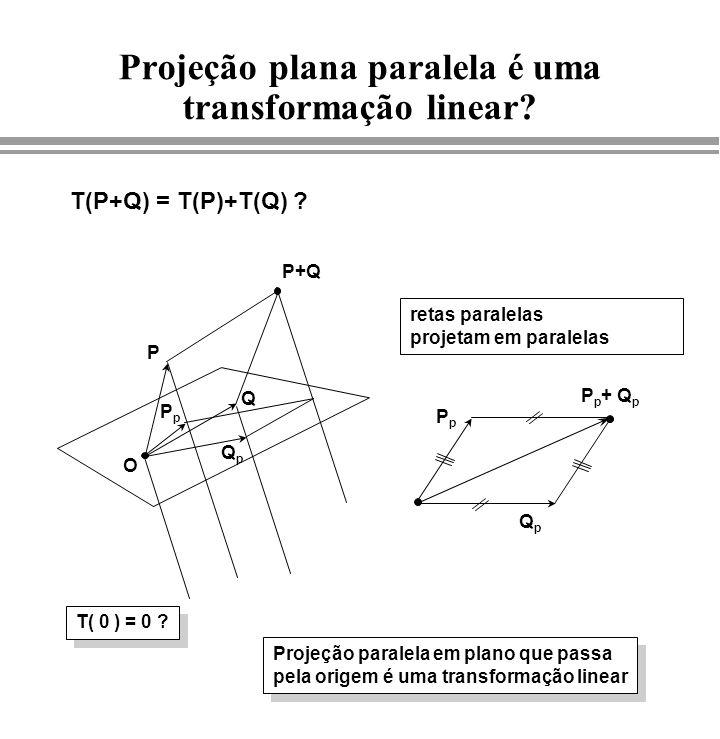 Projeção plana paralela é uma transformação linear? T(P+Q) = T(P)+T(Q) ? T( 0 ) = 0 ? retas paralelas projetam em paralelas QpQp PpPp P p + Q p P O Q