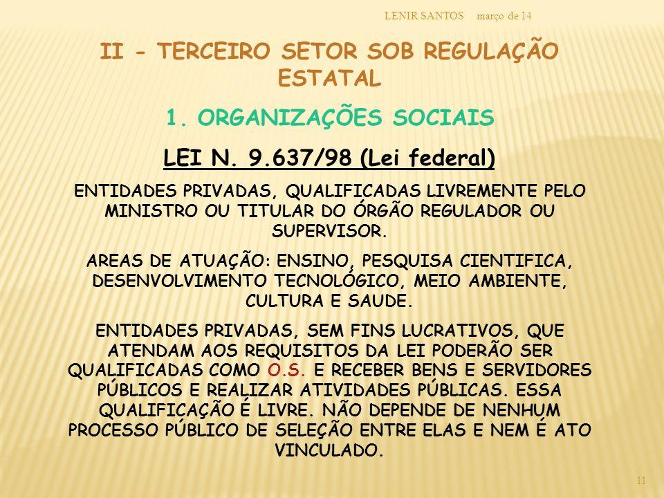 março de 14LENIR SANTOS 11 II - TERCEIRO SETOR SOB REGULAÇÃO ESTATAL 1. ORGANIZAÇÕES SOCIAIS LEI N. 9.637/98 (Lei federal) ENTIDADES PRIVADAS, QUALIFI