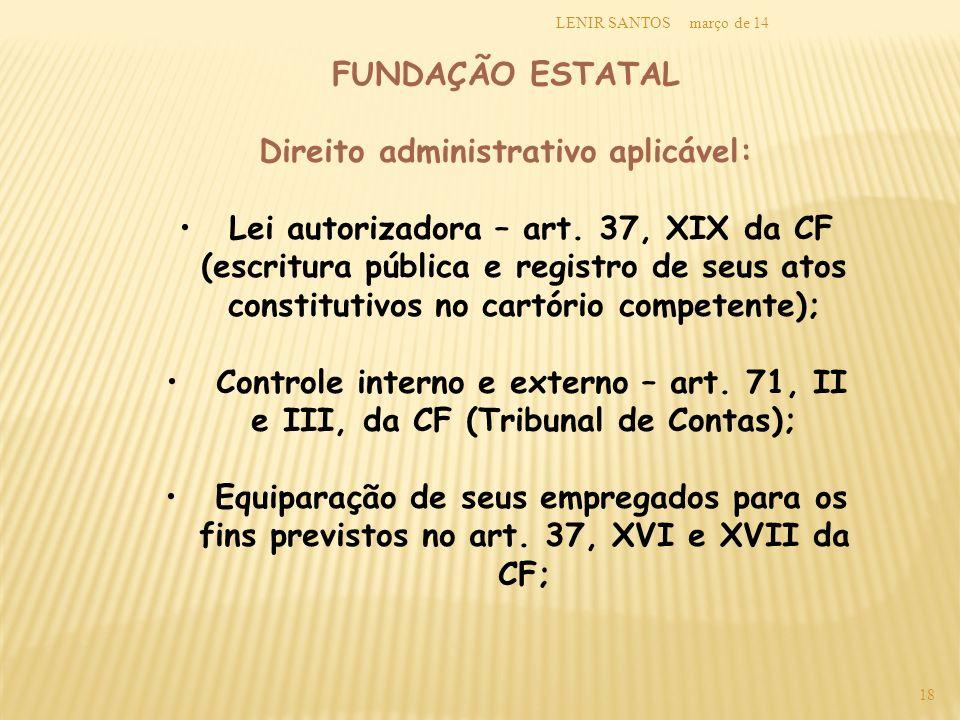 março de 14LENIR SANTOS 18 FUNDAÇÃO ESTATAL Direito administrativo aplicável: Lei autorizadora – art. 37, XIX da CF (escritura pública e registro de s