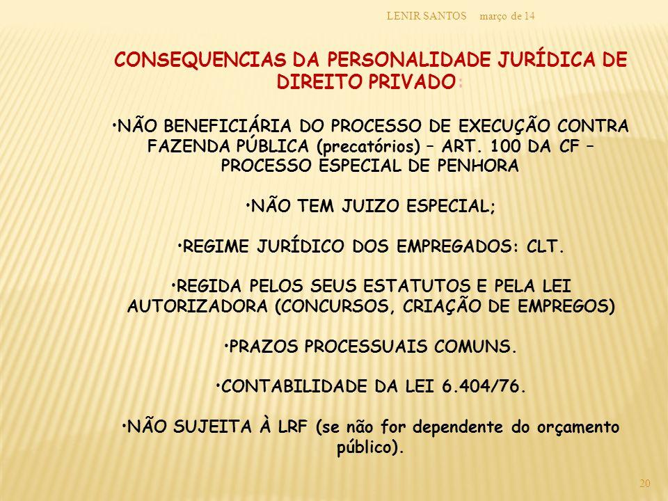 março de 14LENIR SANTOS 20 CONSEQUENCIAS DA PERSONALIDADE JURÍDICA DE DIREITO PRIVADO: NÃO BENEFICIÁRIA DO PROCESSO DE EXECUÇÃO CONTRA FAZENDA PÚBLICA