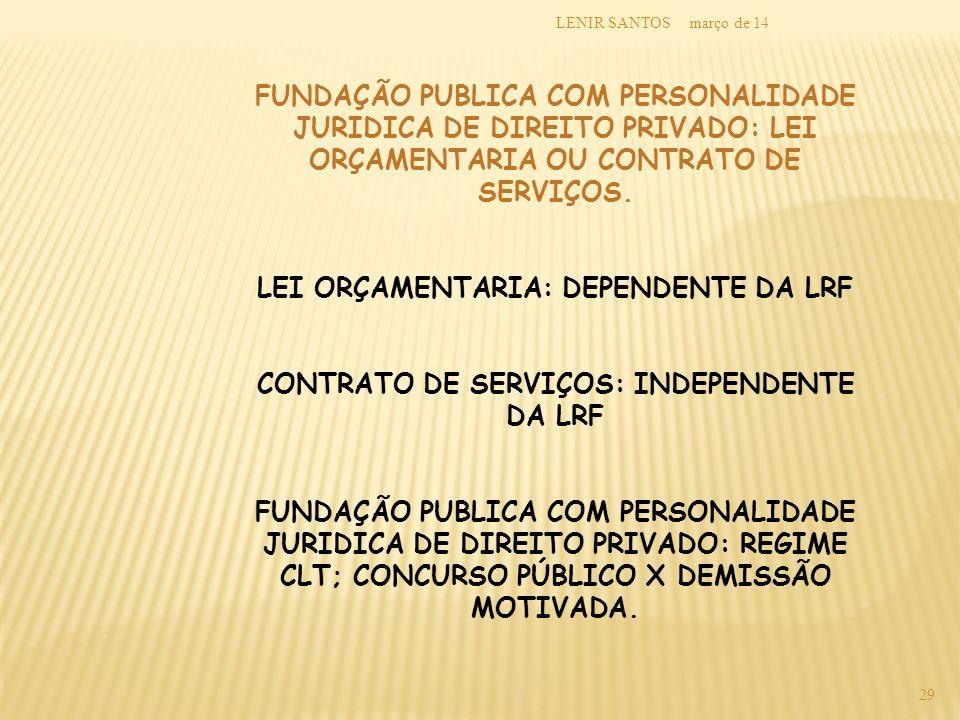 março de 14LENIR SANTOS 29 FUNDAÇÃO PUBLICA COM PERSONALIDADE JURIDICA DE DIREITO PRIVADO: LEI ORÇAMENTARIA OU CONTRATO DE SERVIÇOS. LEI ORÇAMENTARIA: