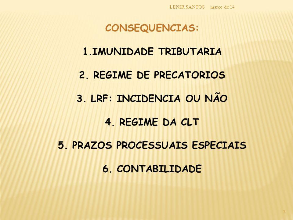 março de 14LENIR SANTOS 7 CONSEQUENCIAS: 1.IMUNIDADE TRIBUTARIA 2. REGIME DE PRECATORIOS 3. LRF: INCIDENCIA OU NÃO 4. REGIME DA CLT 5. PRAZOS PROCESSU