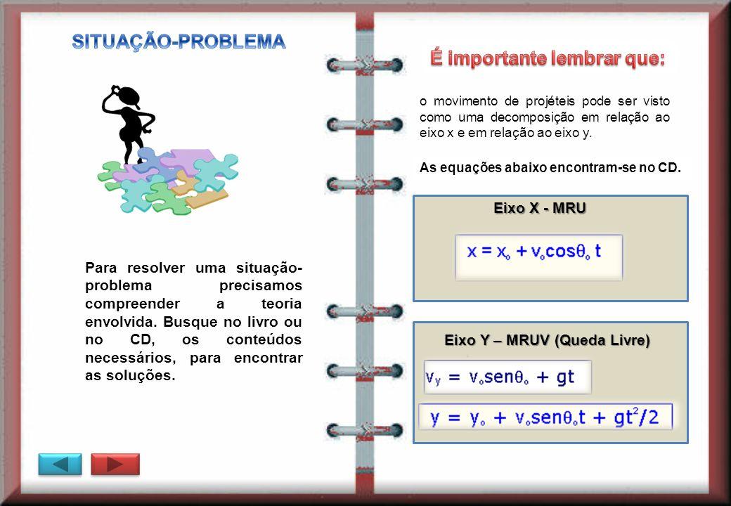 Eixo X - MRU Eixo Y – MRUV (Queda Livre) Para resolver uma situação- problema precisamos compreender a teoria envolvida. Busque no livro ou no CD, os