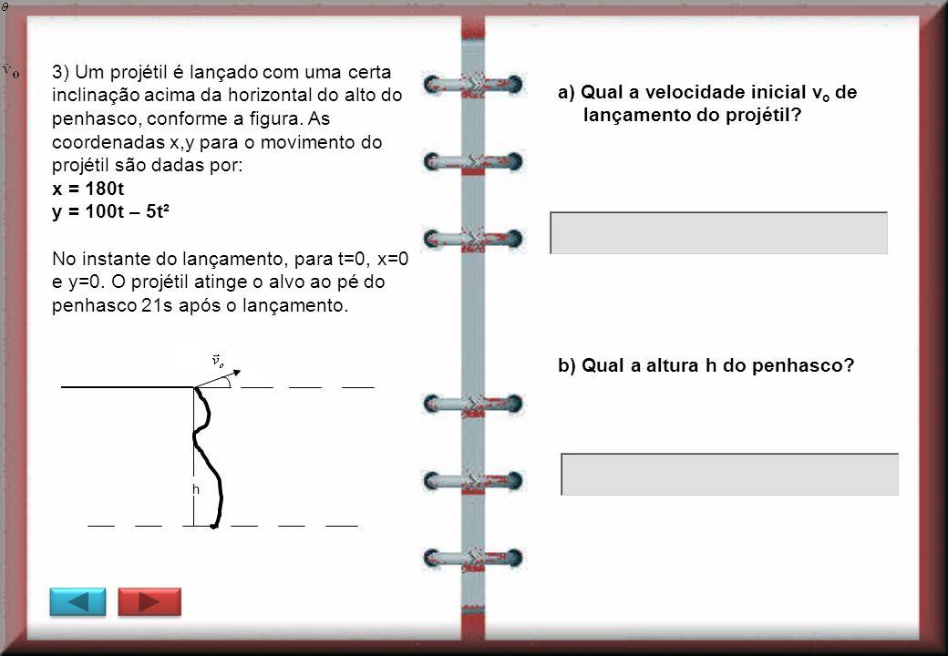 a) Qual a velocidade inicial v o de lançamento do projétil? h 3) Um projétil é lançado com uma certa inclinação acima da horizontal do alto do penhasc