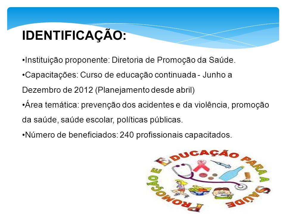 IDENTIFICAÇÃO: Instituição proponente: Diretoria de Promoção da Saúde. Capacitações: Curso de educação continuada - Junho a Dezembro de 2012 (Planejam