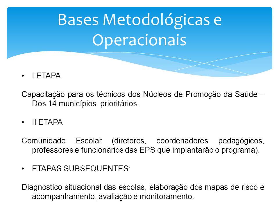 Bases Metodológicas e Operacionais I ETAPA Capacitação para os técnicos dos Núcleos de Promoção da Saúde – Dos 14 municípios prioritários. II ETAPA Co