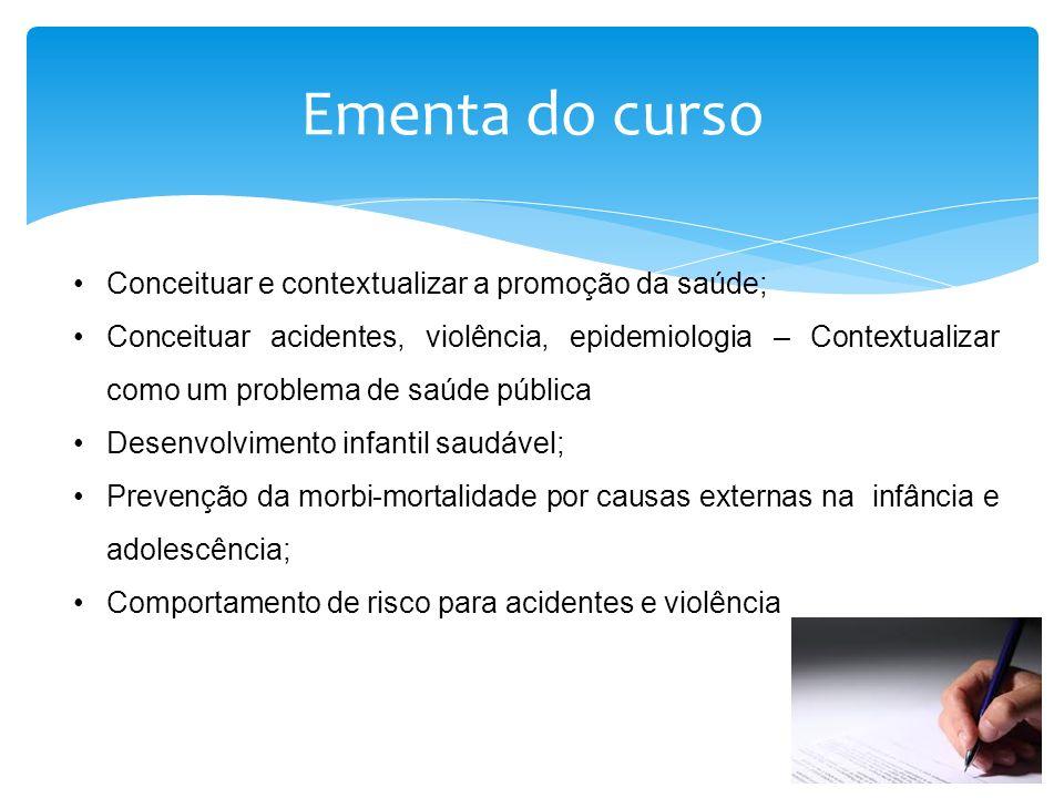 Conceituar e contextualizar a promoção da saúde; Conceituar acidentes, violência, epidemiologia – Contextualizar como um problema de saúde pública Des