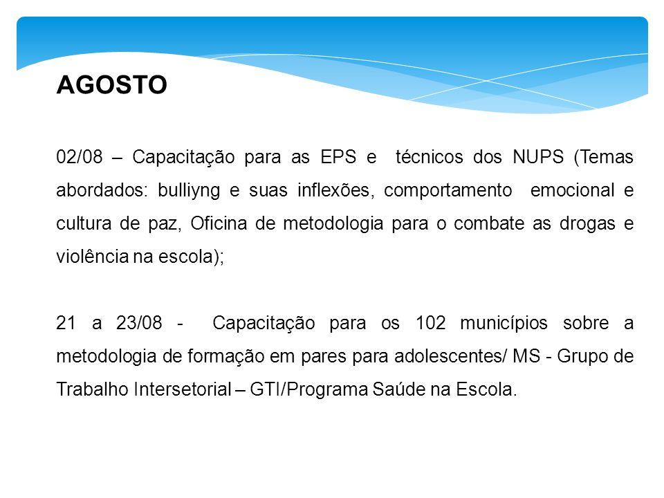 AGOSTO 02/08 – Capacitação para as EPS e técnicos dos NUPS (Temas abordados: bulliyng e suas inflexões, comportamento emocional e cultura de paz, Ofic