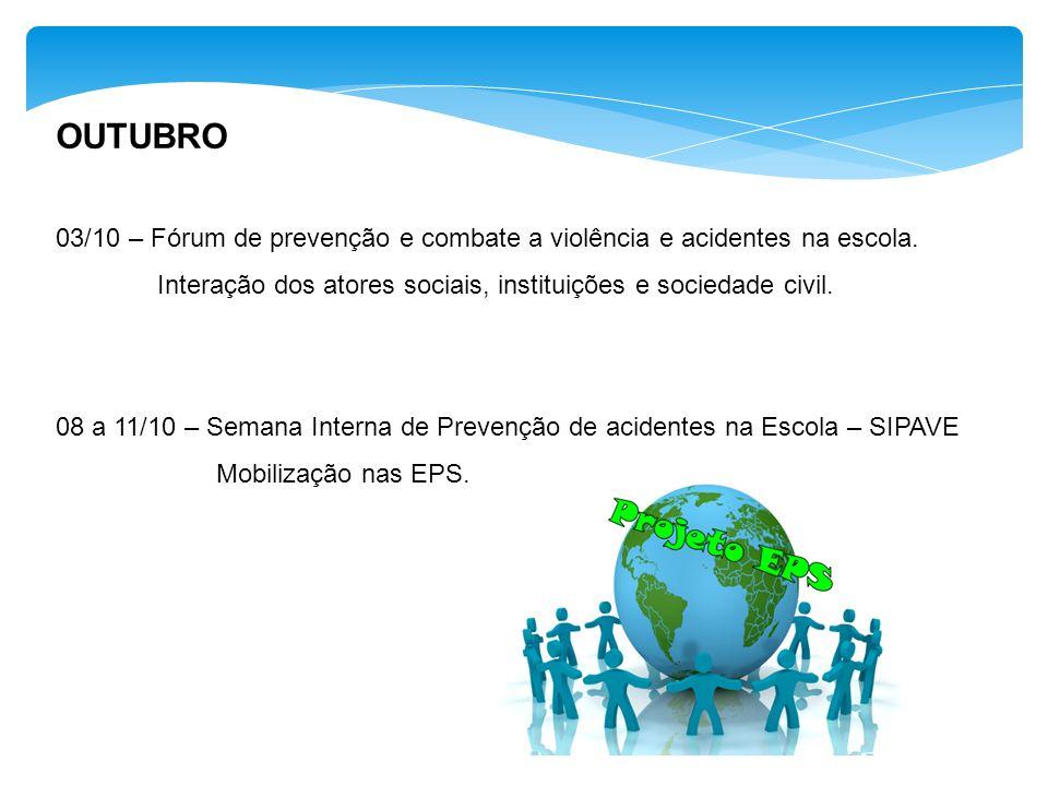 OUTUBRO 03/10 – Fórum de prevenção e combate a violência e acidentes na escola. Interação dos atores sociais, instituições e sociedade civil. 08 a 11/