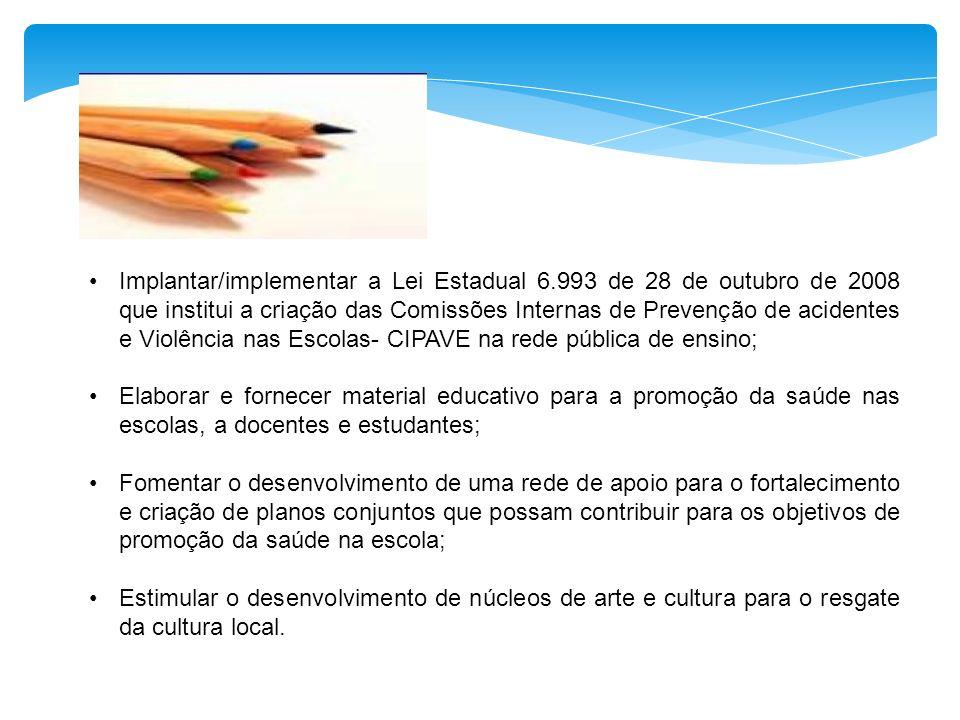 Implantar/implementar a Lei Estadual 6.993 de 28 de outubro de 2008 que institui a criação das Comissões Internas de Prevenção de acidentes e Violênci