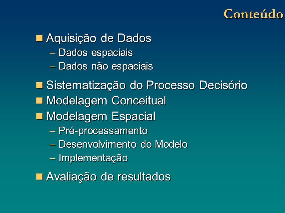Modelagem Espacial Pré-processamento Pré-processamento –Escolha da ferramenta computacional: Capacidade instalada Capacidade instalada Custos Custos Funcionalidade Funcionalidade Objetivos Objetivos Várias possibilidades: Softwares Livres, pacotes comerciais, etc.