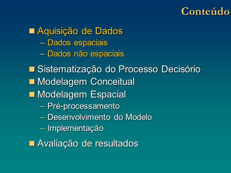 Sistemas de Suporte à Decisão Espaciais Sistemas de Suporte à Decisão Espaciais Capacidade de Gerenciamento de Banco de DadosCapacidade de Gerenciamento de Banco de Dados Recursos de visualização gráfica/espacialRecursos de visualização gráfica/espacial Recursos de Geração de Dados Tabulares e RelatóriosRecursos de Geração de Dados Tabulares e Relatórios Incorporação de Técnicas Analíticas de apoio à decisão (ex: análise multicritério)Incorporação de Técnicas Analíticas de apoio à decisão (ex: análise multicritério) Conhecimento Especializado do tomador (ou tomadores) de decisãoConhecimento Especializado do tomador (ou tomadores) de decisão SIG SSDE Representação Espacial de Preferências, ponderações, conhecimento especializado, experiências, etc.