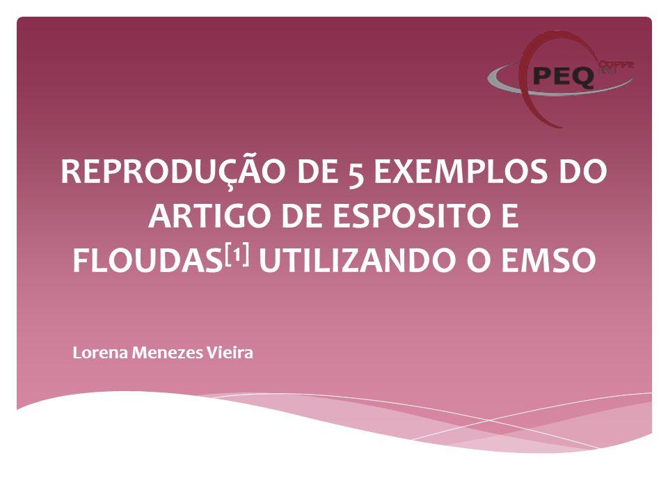 REPRODUÇÃO DE 5 EXEMPLOS DO ARTIGO DE ESPOSITO E FLOUDAS [1] UTILIZANDO O EMSO Lorena Menezes Vieira