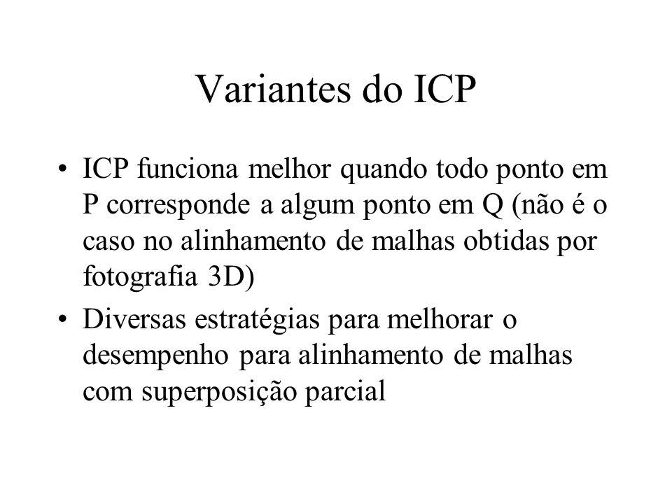Variantes do ICP ICP funciona melhor quando todo ponto em P corresponde a algum ponto em Q (não é o caso no alinhamento de malhas obtidas por fotograf