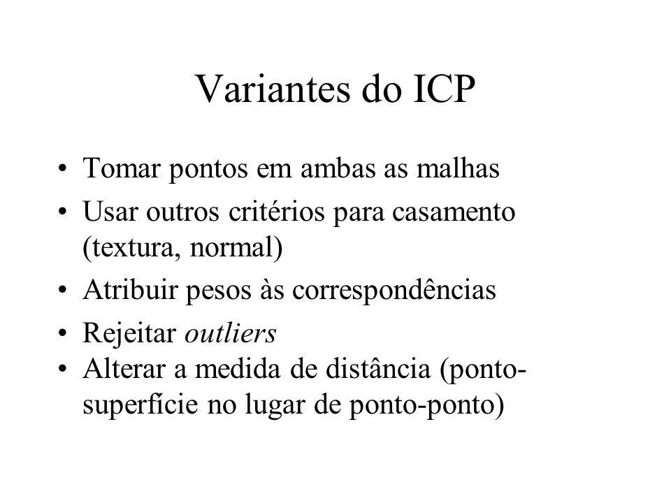 Variantes do ICP Tomar pontos em ambas as malhas Usar outros critérios para casamento (textura, normal) Atribuir pesos às correspondências Rejeitar ou