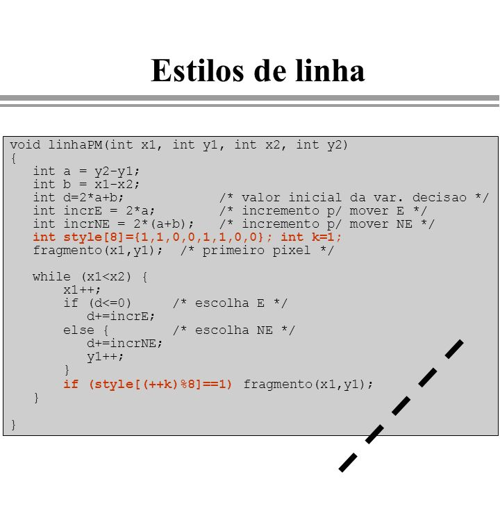 Estilos de linha void linhaPM(int x1, int y1, int x2, int y2) { int a = y2-y1; int b = x1-x2; int d=2*a+b; /* valor inicial da var. decisao */ int inc