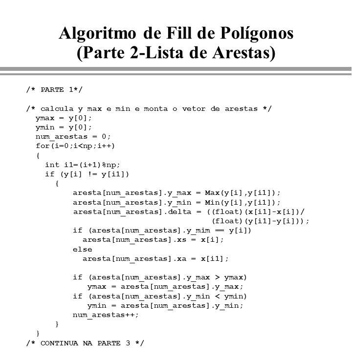 Algoritmo de Fill de Polígonos (Parte 2-Lista de Arestas) /* PARTE 1*/ /* calcula y max e min e monta o vetor de arestas */ ymax = y[0]; ymin = y[0];