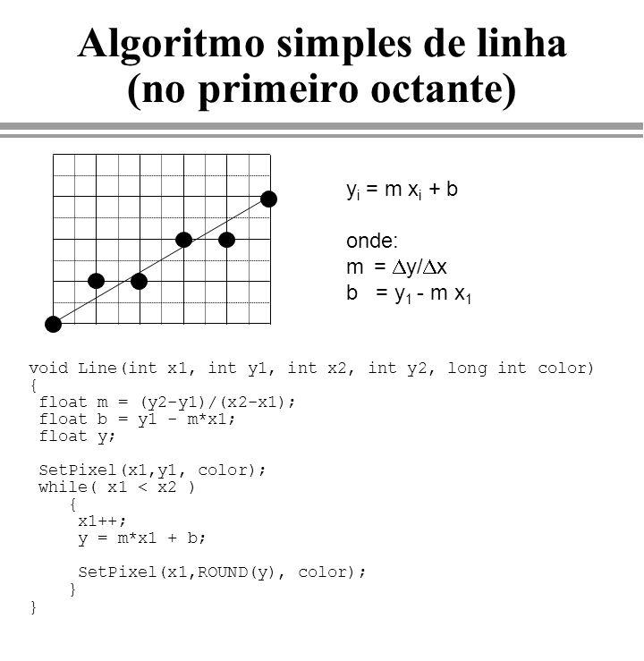 Algoritmo de Fill de Polígonos (Parte 3-Varredura) /* PARTES 1 E 2 */ for(ys=ymin; ys<ymax; ys++) /* para cada linha de scan */ { num_inters = 0; for(i=0; i<num_arestas; i++) { if (aresta[i].y_max < ys){ /* retira da lista de arestas */ aresta[i] = aresta[num_arestas-1]; num_arestas--; } if((ys>=aresta[i].y_min)&&(ys<aresta[i].y_max)){ /* intersepta */ vxs[num_inters] = aresta[i].xs; aresta[i].xs += aresta[i].delta; /* atualiza o xs */ num_inters++; } } /* for */ ordena(vxs,0,num_inters-1);/* ordena as interseções */ for(i=0;i<num_inters;i+=2) if (vxs[i]+1 <= vxs[i+1]) hline(vxs[i],vxs[i+1],ys,0xff); } } /* fill */ /* FIM */