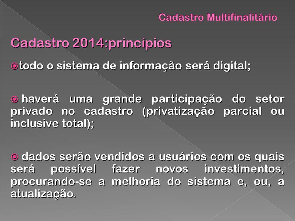 Cadastro 2014:princípios todo o sistema de informação será digital; todo o sistema de informação será digital; haverá uma grande participação do setor