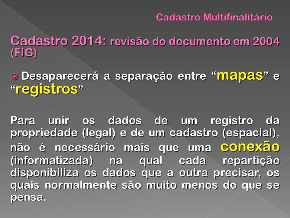 Cadastro 2014: revisão do documento em 2004 (FIG) Desaparecerá a separação entre mapas e registros Desaparecerá a separação entre mapas e registros Pa