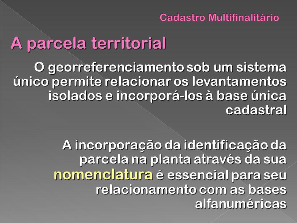 A parcela territorial O georreferenciamento sob um sistema único permite relacionar os levantamentos isolados e incorporá-los à base única cadastral O