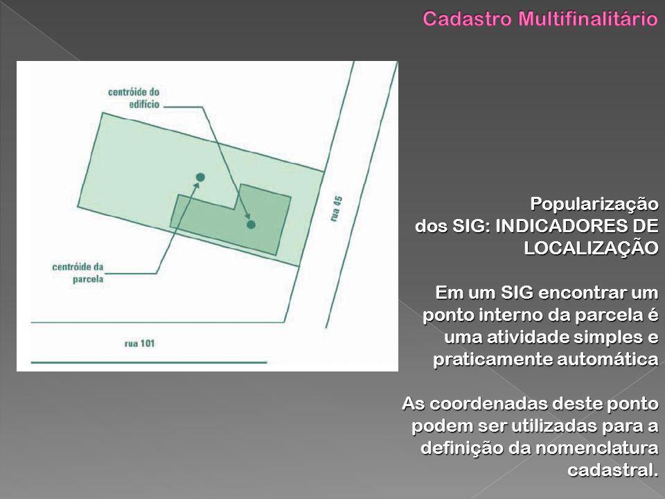 Popularização dos SIG: INDICADORES DE LOCALIZAÇÃO Em um SIG encontrar um ponto interno da parcela é uma atividade simples e praticamente automática As