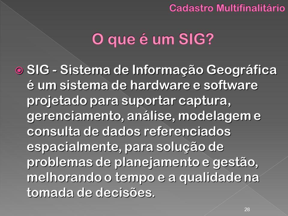 28 SIG - Sistema de Informação Geográfica é um sistema de hardware e software projetado para suportar captura, gerenciamento, análise, modelagem e con