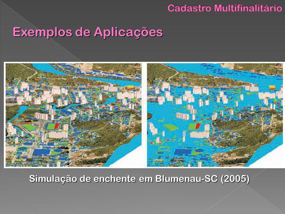 Simulação de enchente em Blumenau-SC (2005) Exemplos de Aplicações