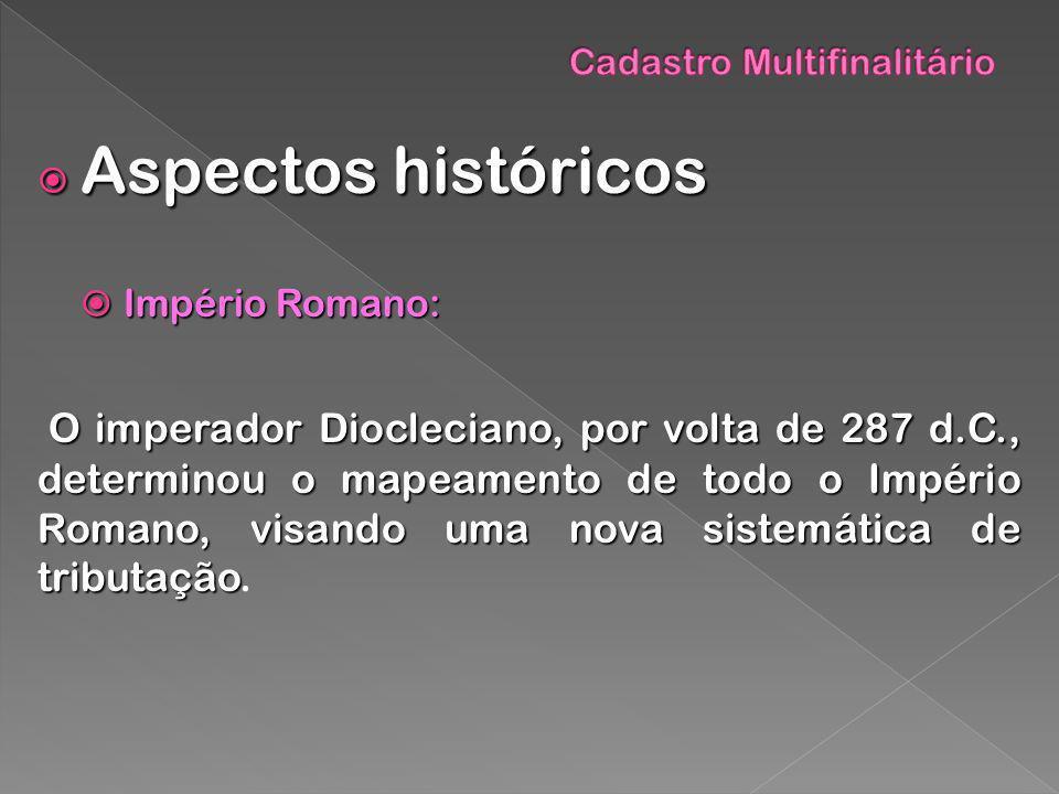 Aspectos históricos Aspectos históricos Império Romano: Império Romano: O imperador Diocleciano, por volta de 287 d.C., determinou o mapeamento de tod